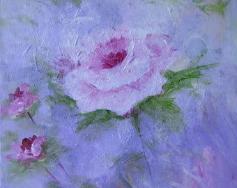 Single rose painting, 9 x 12 acrylic