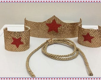 Wonder Woman Accessories; Crown, Wrist Bands, Rope; Baby to Adult Sizes