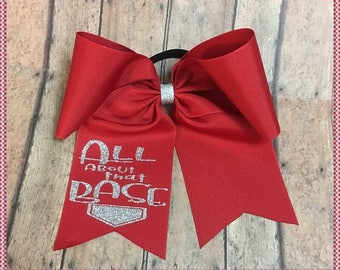 """Cheer Bow """"All About That Base"""", Red And Silver Glitter Vinyl, Pony O Or French Barrette, Ready To Ship: Convo For Color Changes"""