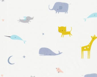 Animal Parade Tout Petite by Cloud 9, Organic, quilter's weight fabric, fabric by the yard, nursery print, organic fabric, modern quilt