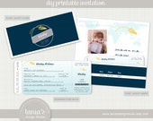 Paper Plane Time Flies Airline Ticket Birthday Invitation by tania's design studio