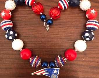New England Patriots Football NFL inspired Bubble Gum Necklace (Adult)