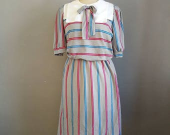 80s sailor dress // striped retro dress // boho 80s dress // midi day dress // 80s square bibbed dress // natucal vintage dress //