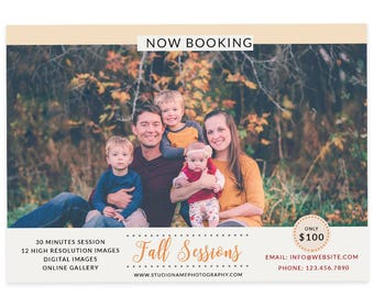 Fall Invitation Template, Autumn Graphics, Fall Session Template For Photographers, Marketing Templates, Fall Sessions, Fall Minis, m149