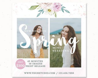 Spring Photography Marketing Board, Spring Mini Session Marketing Template, Easter Mini Session Template, Photography Ad Template, m199