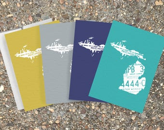 Pack of 4 Cards, Blank Cards, Greeting Cards, Pack of Greeting Cards, Michigan, Great Lakes