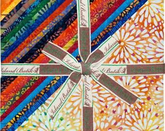 "Island Batik Pressed  Petals Orange Blue Green Batiks Stack Layer Cake 10"" Squares"