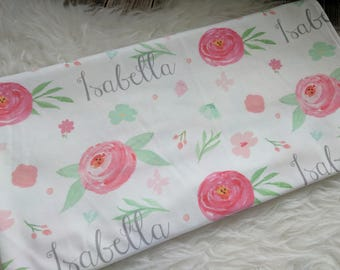Personalized baby floral rose swaddle blanket: baby and toddler personalized name newborn hospital gift baby shower gift
