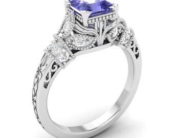 Tanzanite Ring, 14K White Gold, Princess Cut, Vintage Ring Gold, Tanzanite Engagement Ring, December Birthstone Ring, Certified Tanznaite