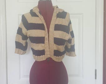 Striped cardigan with hood