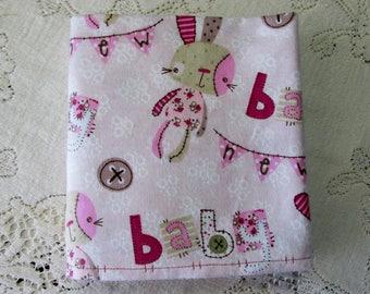 Extra-Large Flannel Receiving Blanket - Handmade Rag Bunny - New Baby Banner - Pink Bunny Rabbit - Baby Girl Gift - Hannahs Homestead2
