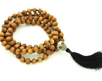 Sandalwood & Pyrite Skull Meditation Mala, 108 bead mala, 8mm