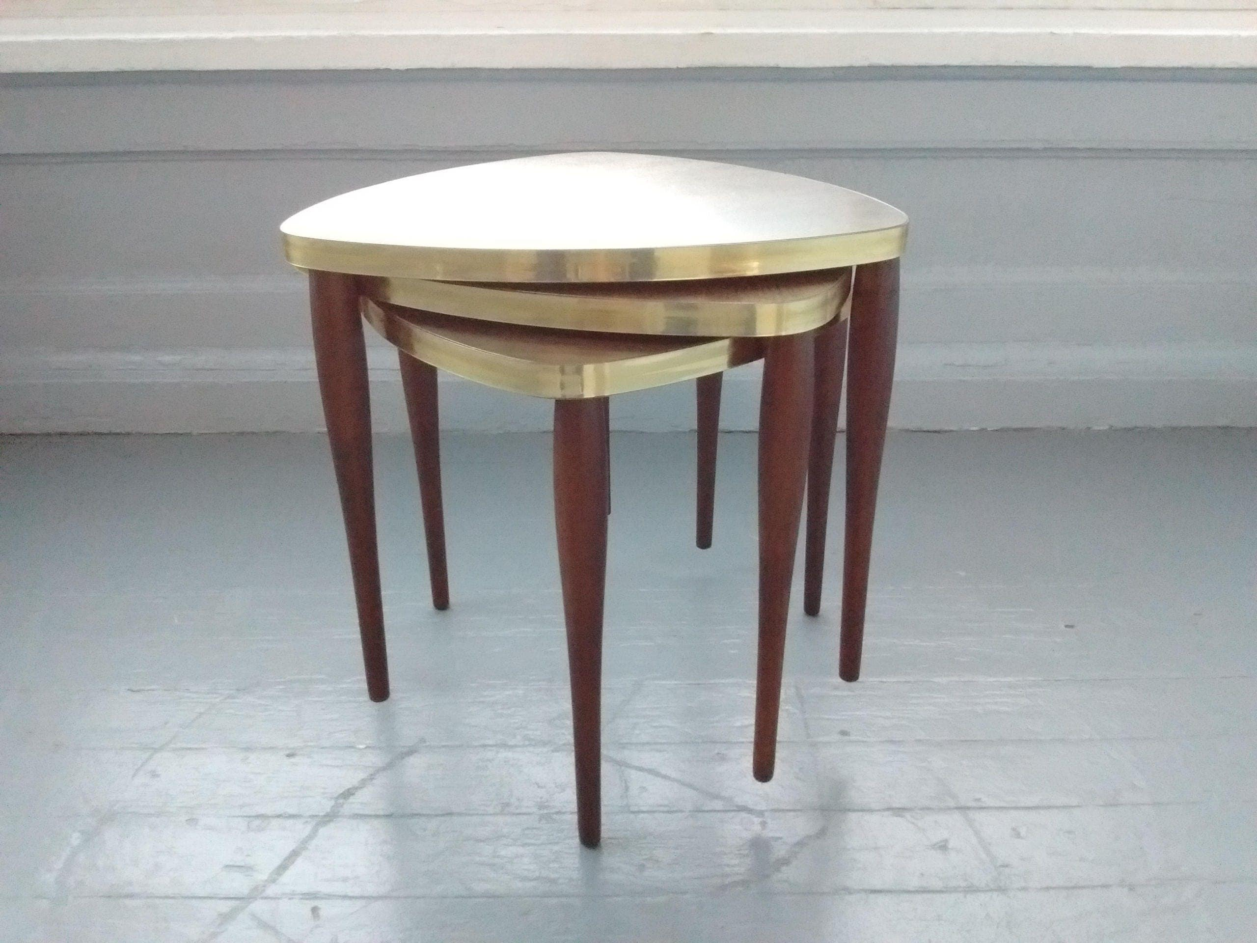 Sale Vintage Stacking Tables Triangle Guitar Pic Mid Century Danish Modern End Table