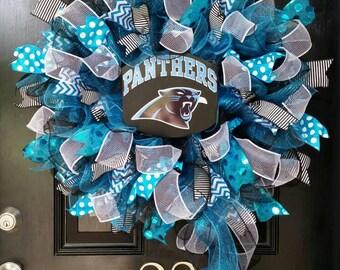 Large Mesh Ribbon Carolina Panthers Pro Football Wreath Blue Black White