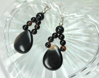 Black Onyx Earrings, Sterling Silver, Onyx Jewelry, Gemstone Earrings, Stone Jewelry, Dangle Earrings, Black Drop Earrings, Handmade
