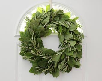 """Olive Lemon Leaf Wreath- 20"""""""