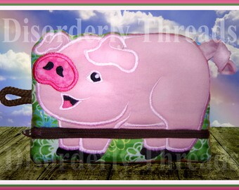 PIG Zippered Bag! 6x8.5 **xxx vip pes jef hus exp dst Formats** ITH In The Hoop Zippered Bag Machine Embroidery File