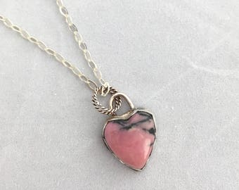 Pink Heart Necklace, Rhodochrosite Heart Necklace, Sterling Silver Pendant