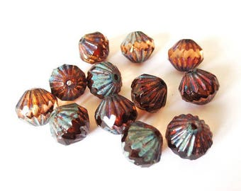 4 9mm Transparent Root Beer/Picasso Baroque Czech glass beads