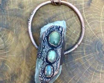 Quartz crystal and labradorite copper electroformed pendant on long antique copper chain