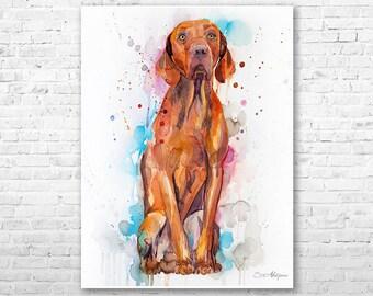 Vizsla watercolor painting print by Slaveika Aladjova, animal, illustration, home decor, Nursery, gift, Contemporary, dog art