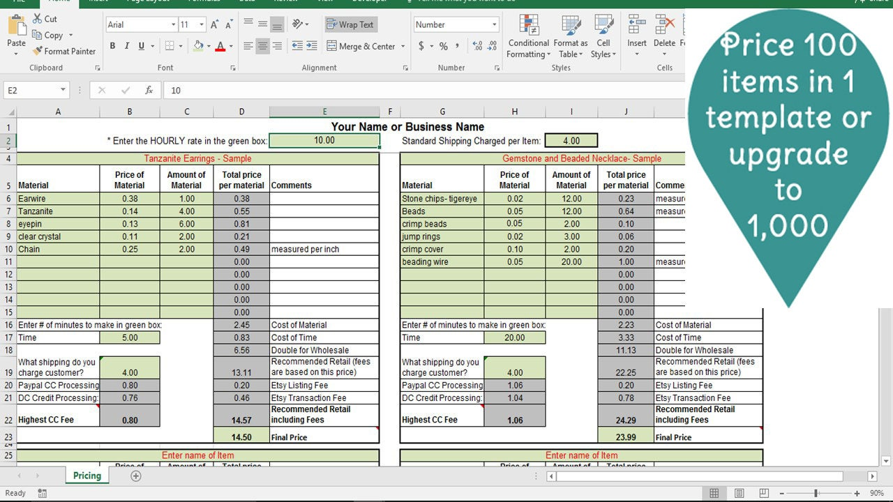 pricing template for etsy sellers excel spreadsheet