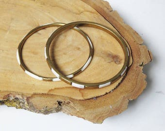 Brass Bangle Bracelets // Pair of Vintage Brass 1970's Bangles // Vintage Jewelry