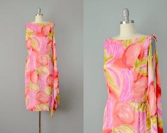 60s Dress // 1960's Watercolor Cherry Print Silk Chiffon Dress  // M-L