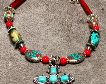 Deluxe Native Southwest Cross & Coral Necklace