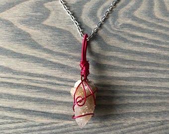 Spirit Quartz Wire Wrapped Boho Crystal Necklace