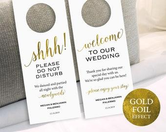 Gold Wedding Door Hanger, Please Do Not Disturb Door Hanger, Door Hanger Printable, Wedding Printable, PDF Instant Download, MM01-3