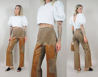 70's GUCCI Leather + Suede Flares