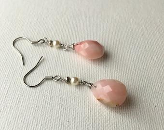 Peruvian Pink Opal Earrings