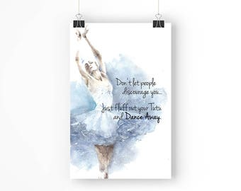 Dance Away Ballerina - Paper Poster - 11x17 Inches