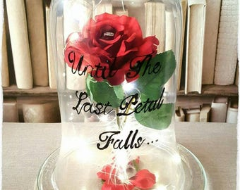 Handpainted quote for my Hand made Beauty and the Beast inspired Enchanted Rose bell jar
