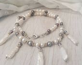 Mermaid Princess freshwater and biwa pearl necklace with sterling silver. Biwa pearl necklace. Grey and white pearl necklace. Hand made