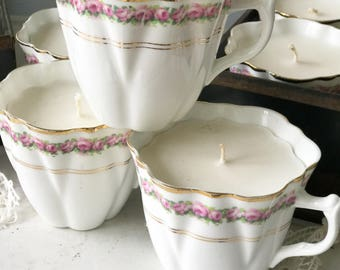 Beautiful soya wax scented vintage teacup candles