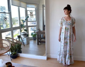 Vintage sheer hippie cotton dress with crochet, dragonfly, butterfly and floral print