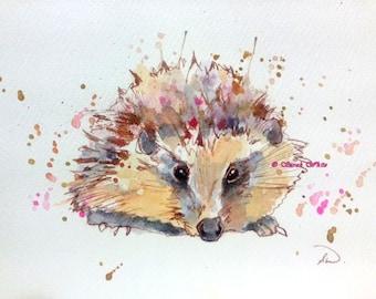 Hedgehog Original Watercolour