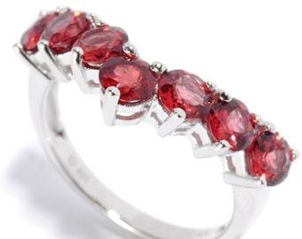 Sterling Silver 2.23ctw Red Garnet Band Ring SZ 4,5,6,7,8,9,10