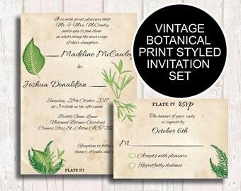 Botanical Wedding Invitation and Sets, Greenery Wedding Invitation, Botanical Invite, Greenery Engagement Invite, Greenery Save Date