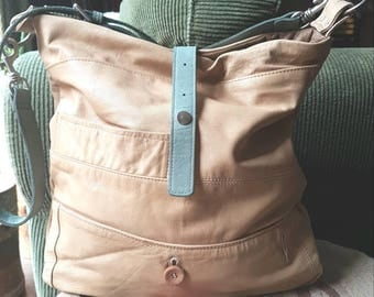 Light and Lovely Summertime Leather Bag, Slouchy Upcycled and OOAK Goodness