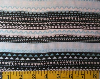 Winter Penguin Striped Cotton Fabric by the 1/2 Yard #412