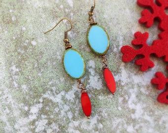 Turquoise and red earrings/ Colorful earrings/ Bohemian earringes / Hippie earrings/Statement Earrings/Boho Earrings