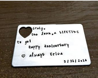 Happy Anniversary, Personalized Wallet Card, Wallet Insert, Anniversary Gifts, Husband, Boyfriend Present, Gifts for Him, Lifetime Loves