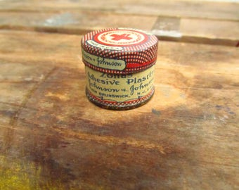 Vintage Johnson & Johnson Adhesive Plaster Tin - First Aid Adhesive Tin - Old First Aid Kit Tin