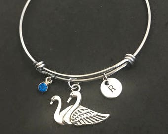 Personalized Swan Bangle Personalized Swan Bracelet