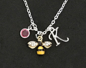 Personalized Bee Necklace Bee Jewelry