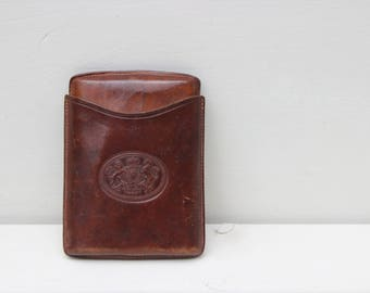 Cigar leather case from the 1940s. Cigar box. Camel Spanish leather. Handmade