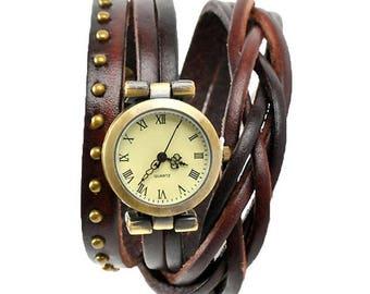 Leather strap watch in dark brown, wrap bracelet for women.